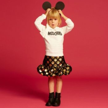 MOSCHINO KID-TEEN Black Jacquard Skirt with Gold Metallic Spots