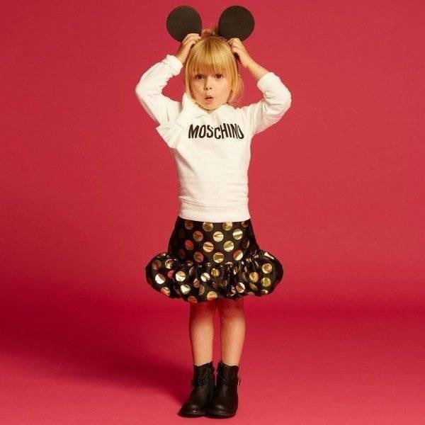 MOSCHINO KID-TEEN Black Jacquard Skirt with Gold Metallic Spots