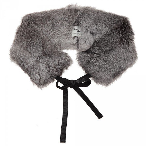 PETIT NORD Girls Grey Fur Collar with Leather Ties