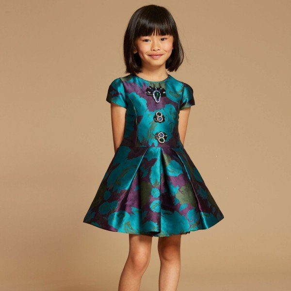 QUIS QUIS Teal Green & Purple Dress with Jewells