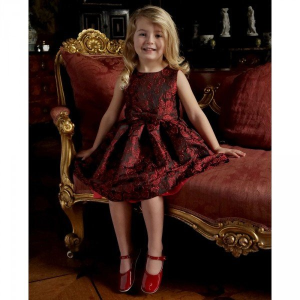 RACHEL RILEY Black & Red Rose Jacquard Dress with Bow