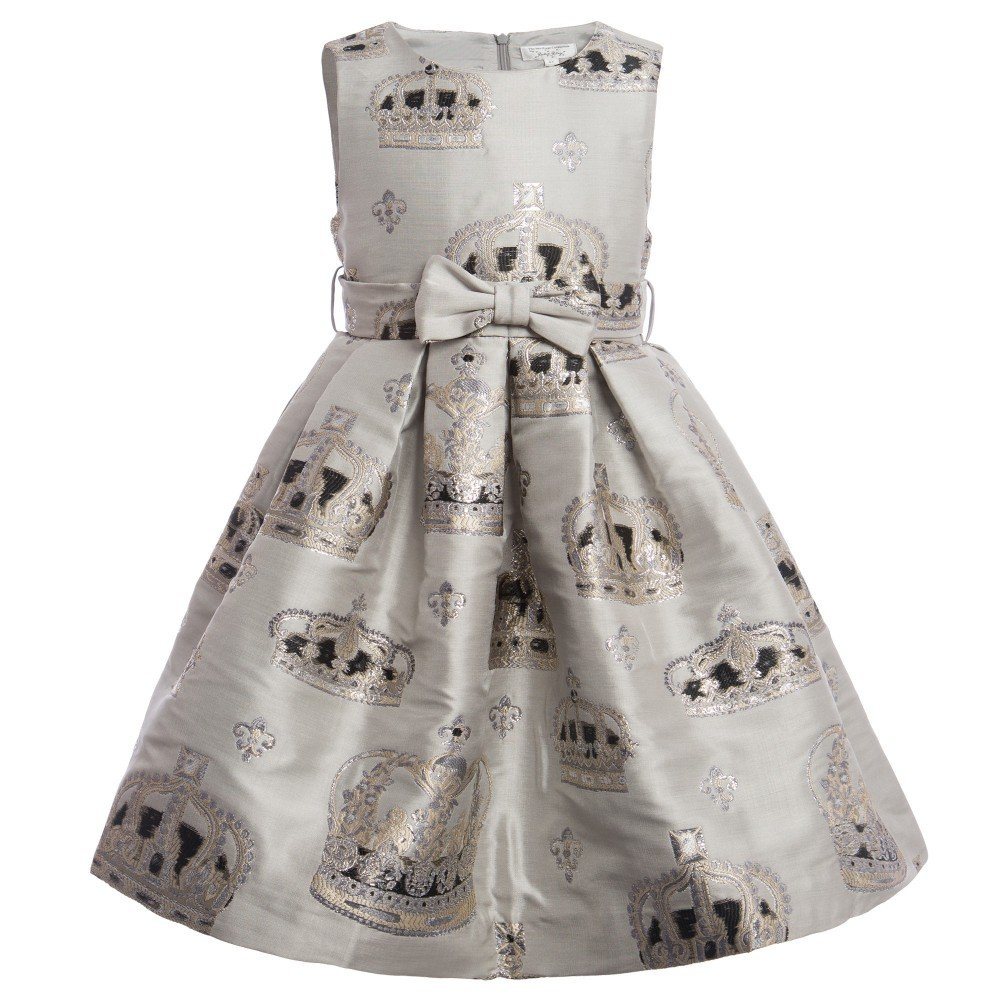 RACHEL RILEY Silver 'Crown' Print Dress with Bow