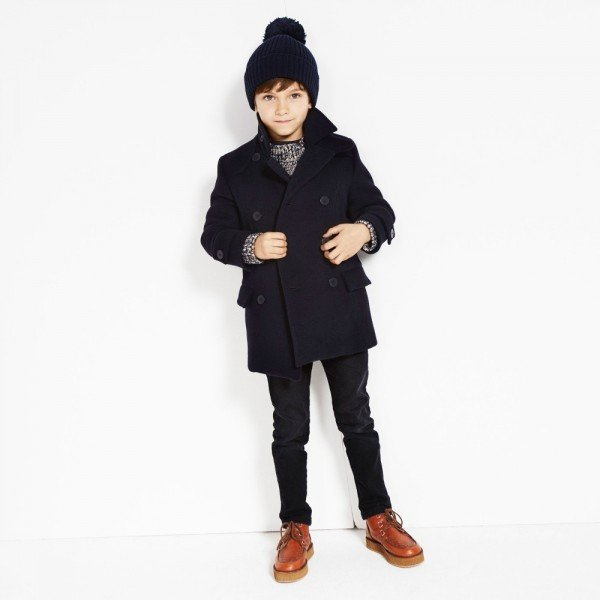 STELLA MCCARTNEY KIDS Navy Blue Wool Blend 'Rocco' Coat