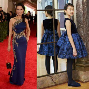 Wendi Murdoch in Oscar de la Renta Met Gala 2015 Mini Me Dress