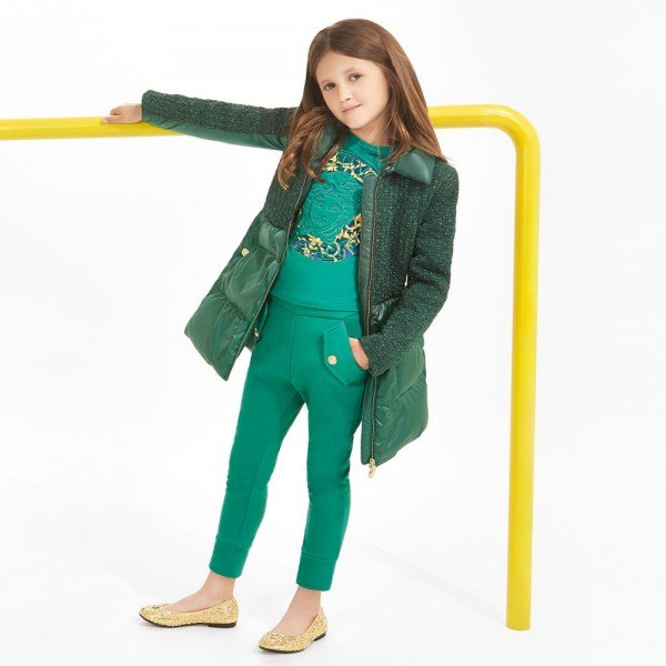 YOUNG VERSACE Girls Green Down Padded Coat & Fur Trim Collar