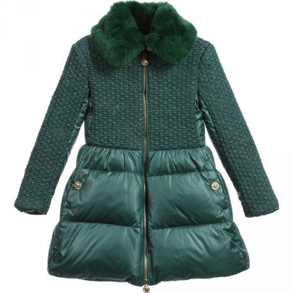 YOUNG VERSACE Girls Green Down Padded Coat & Fur Trim Collar