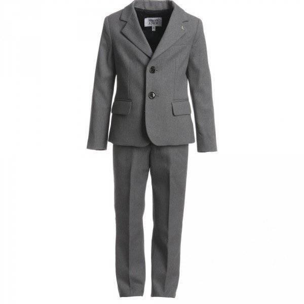 ARMANI JUNIOR Boys Grey Formal Wool Suit