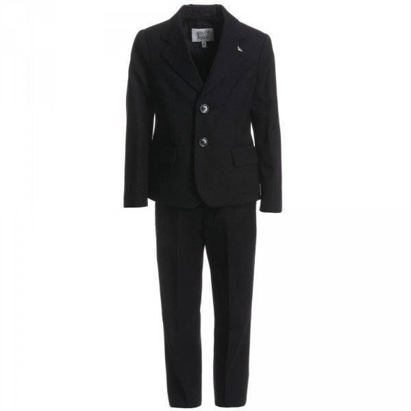 ARMANI JUNIOR Boys Navy Blue Pinstripe Wool Suit