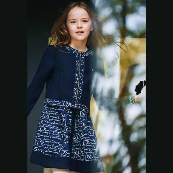 Armani Teen Girls Navy Blue Logo Dress & Cardigan Sweater