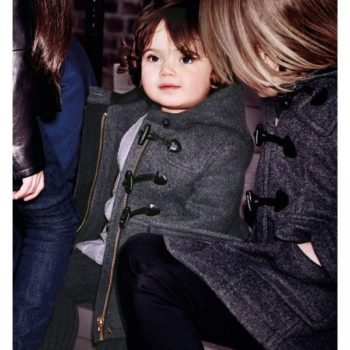 BURBERRY Baby Girls Grey Wool Duffle Coat with Hood