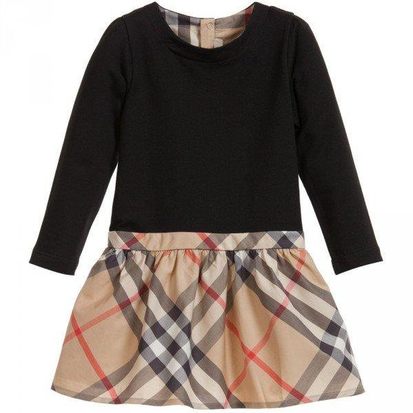 BURBERRY Black Dress with Classic Beige Check Skirt
