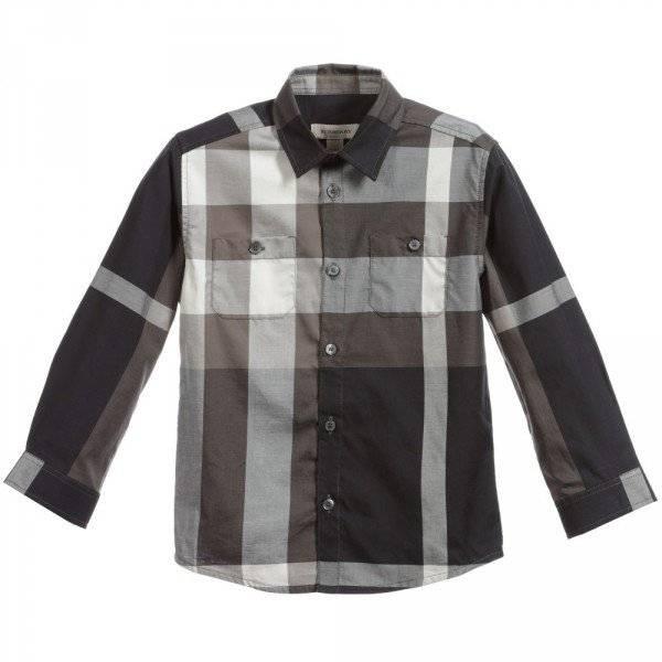 BURBERRY Boys Black & Beige Check Cotton Shirt