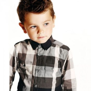 BURBERRY Boys Black & Beige Check Cotton Shirt