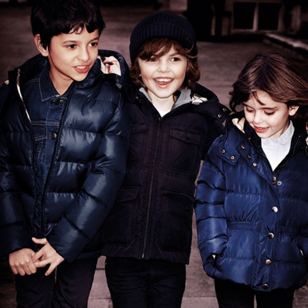 BURBERRY Boys Hooded Black Puffer Coat with Fur Trim