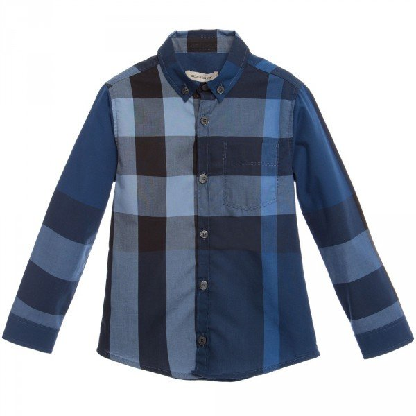 7b645e4f Burberry Boys Navy Blue Check Cotton Shirt | Dashin Fashion