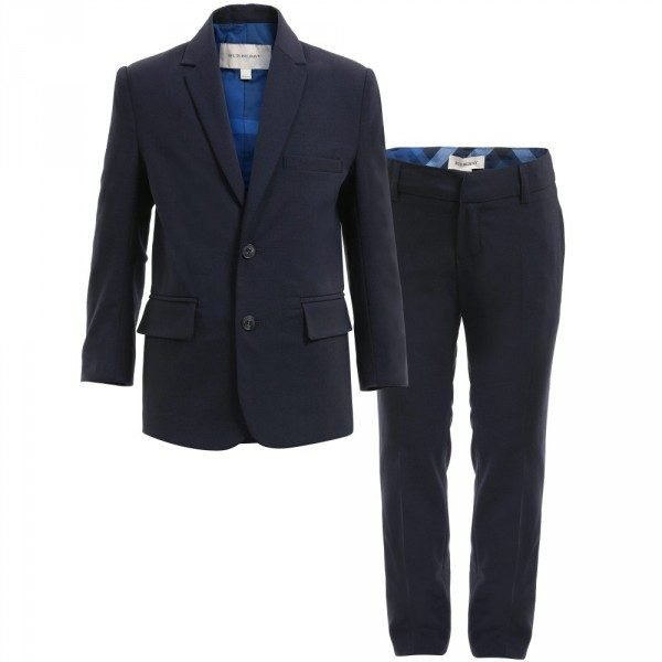 BURBERRY Boys Navy Blue Two Piece Wool Suit