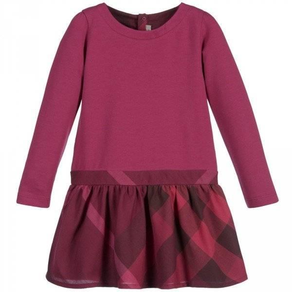 BURBERRY Girls Deep Pink Jersey Dress with Check Skirt
