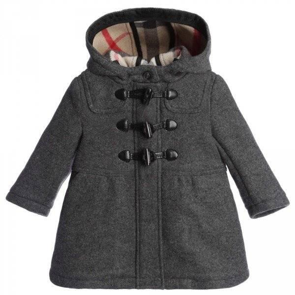 Burberry Baby Girls Grey Wool Hooded Duffle Coat