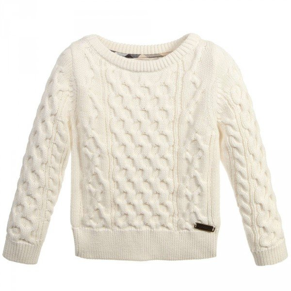 BURBERRY Ivory Cotton Cashmere Cable Knit Sweater