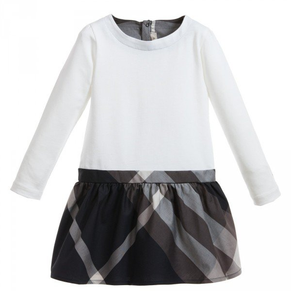 BURBERRY Ivory Dress with Black Check Skirt