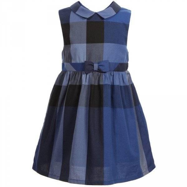 Burberry Girls Blue Check Cotton Dress