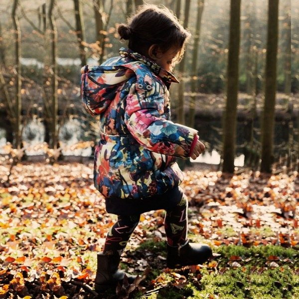 CAKEWALK Girls Padded Jacket with Floral Print