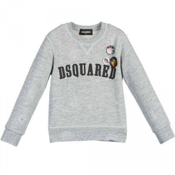 DSQUARED2 Distressed Grey Jersey Sweatshirt with Holes