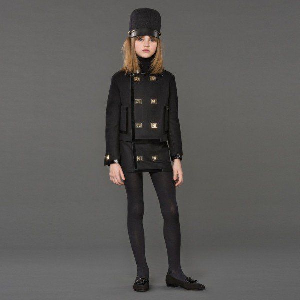 DSQUARED2 Girls Black Wool Jacket with Gold Buckles