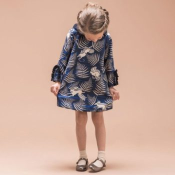 HUCKLEBONES LONDON Blue Midnight Hare 'Printed Satin Dress'