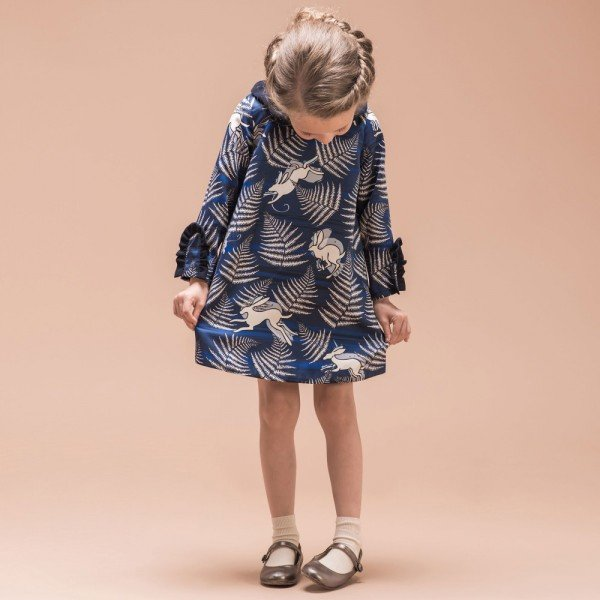 HUCKLEBONES LONDON Blue Midnight Hare 'Printed Satin Dress'