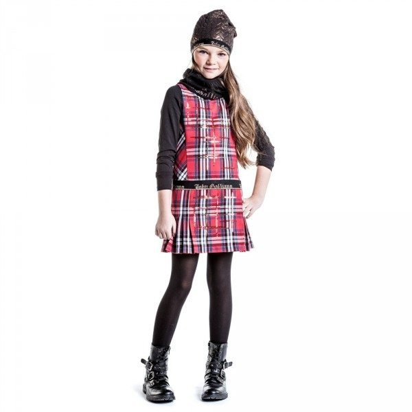 JOHN GALLIANO Girls Red Sparkly Front Tartan Dress
