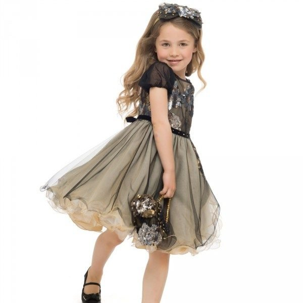 LESY LUXURY FLOWER Girls Black & Gold Tulle Dress with Sequins