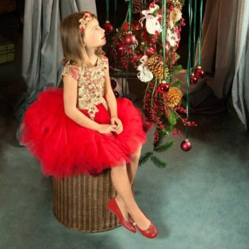 LESY LUXURY FLOWER Girls Red & Gold Embroidered Dress