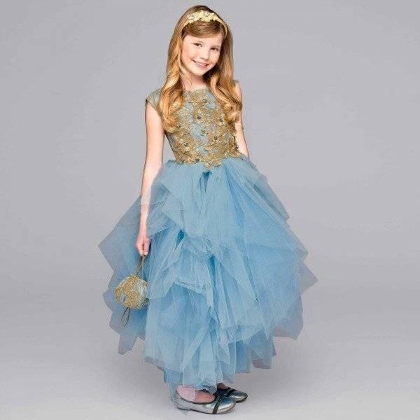 LESY LUXURY FLOWER Girls Gold Lace & Blue Tulle Jeweled Dress