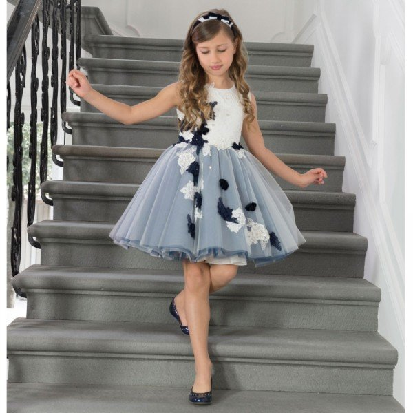 LESY LUXURY FLOWER Girls Navy Blue & White Floral Embroidered Dress