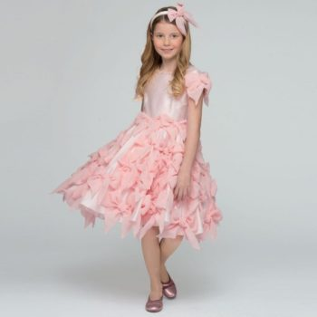 LESY LUXURY FLOWER Pink Chiffon Bow Dress with Pearl Neckline