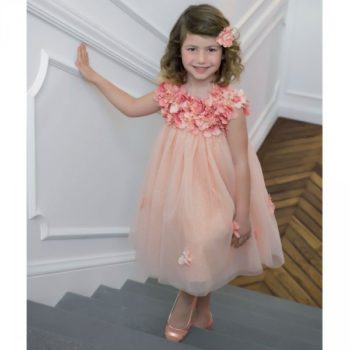 LESY LUXURY FLOWER Girls Pink Silk & Tulle Floral Dress