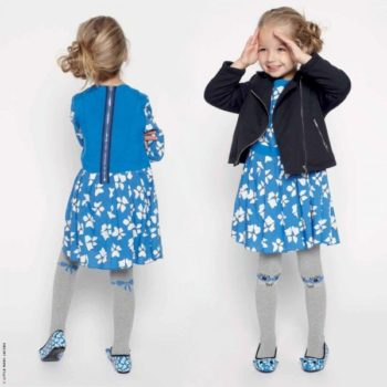 Little Marc Jacobs Girls Blue & White Floral Dress & Military Jacket