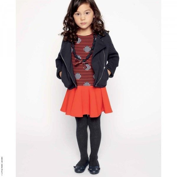 Little Marc Jacobs Girls Mini Me Red & Black Dress and Matching Necklace Look