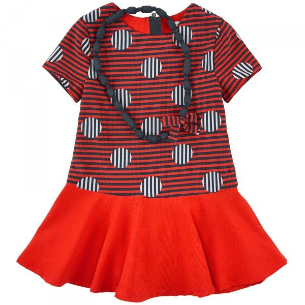 Little Marc Jacobs Girls Mini Me Red & Black Dress and Matching Necklace