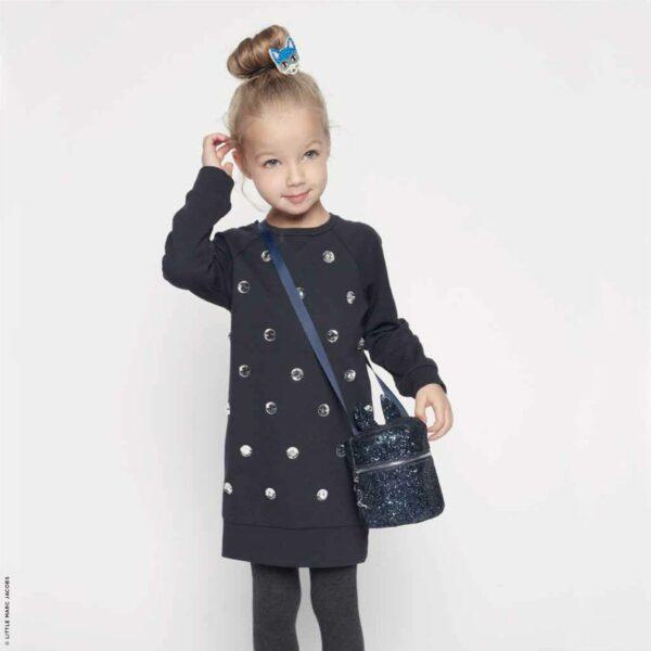 Little Marc Jacobs Mini Me Navy Blue Embellished Dress