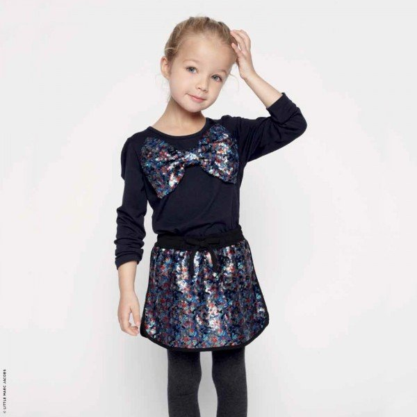 Little Marc Jacobs Sequined Bow Mini Me Shirt & Skirt