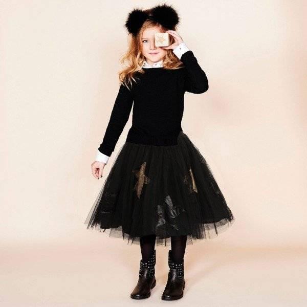 b1cbe95f13 MONNALISA JAKIOO Black Tulle & Gold Star Skirt | Dashin Fashion