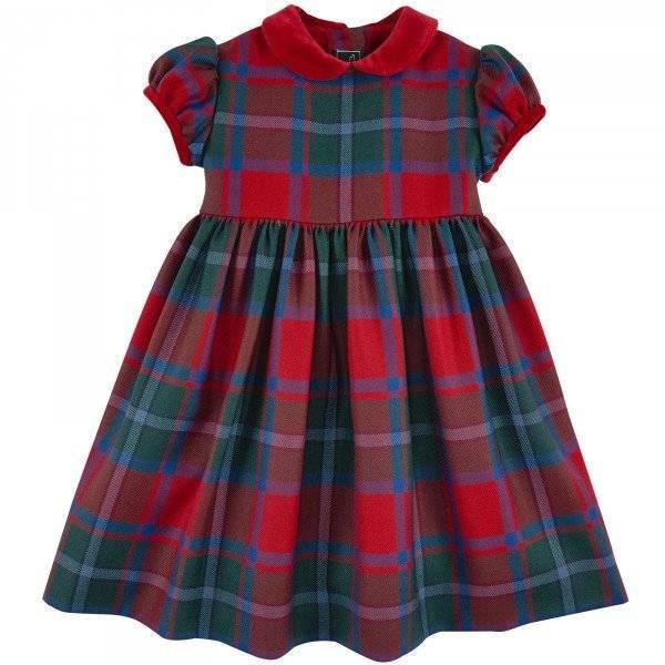 Oscar de la Renta Baby Girl Red & Blue Tartan Wool Dress