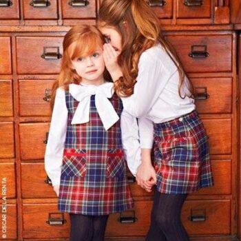 Osacr de la Renta Girls Checked Woollen Dress & Skirt Look