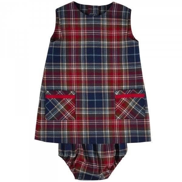 Osacr de la Renta Baby Girls Checked Woollen Dress