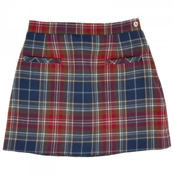 Osacr de la Renta Girls Checked Woollen Skirt