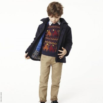 Paul Smith Junior Boys Camel Sweater Blue Wollen Coat & Dark Beige Pants