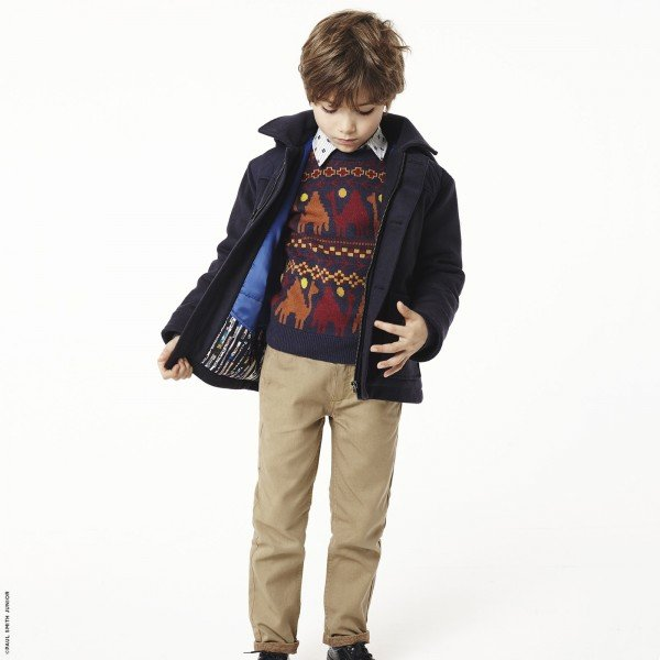 Paul Smith Junior Boys Camel Sweater Blue Wollen Coat & Dark Beige Pants