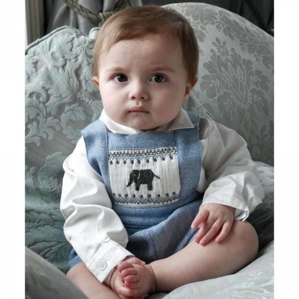 RACHEL RILEY Baby Boys Pale Blue Elephant Smocked Tweed Dungarees